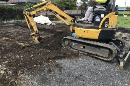 栃木県 大田原市 O様邸 外構工事 土間コンクリート工事 掘削
