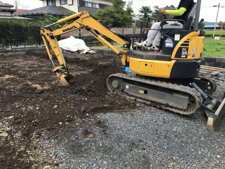 外構工事 土間コンクリート 掘削状況