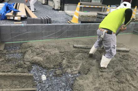 外構工事 土間コンクリート打設
