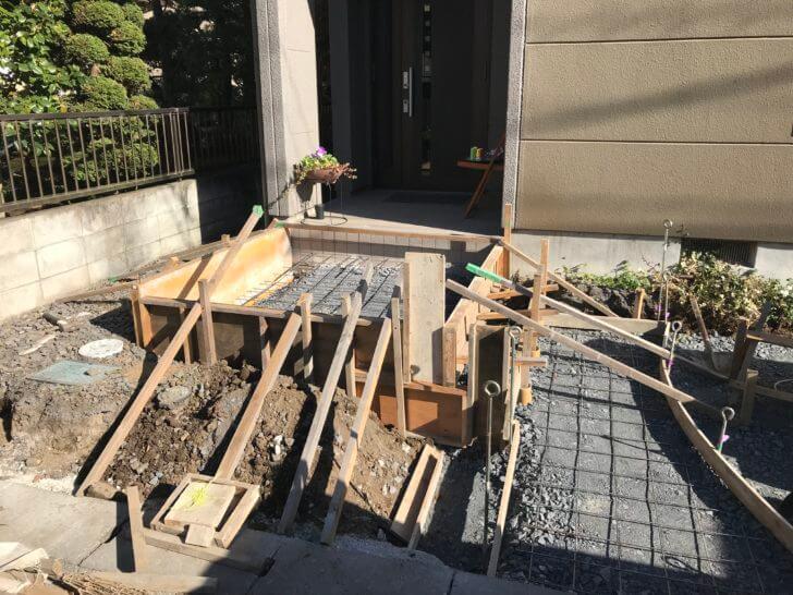 宇都宮市 K様邸 アプローチ石貼りベースコンクリートの施工