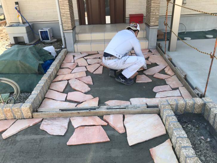大田原市 S様邸 乱形石貼り工事