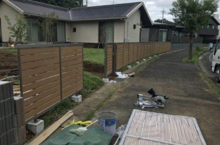 栃木県 芳賀町 T様邸 ガーデン工事 フェンス取り付け